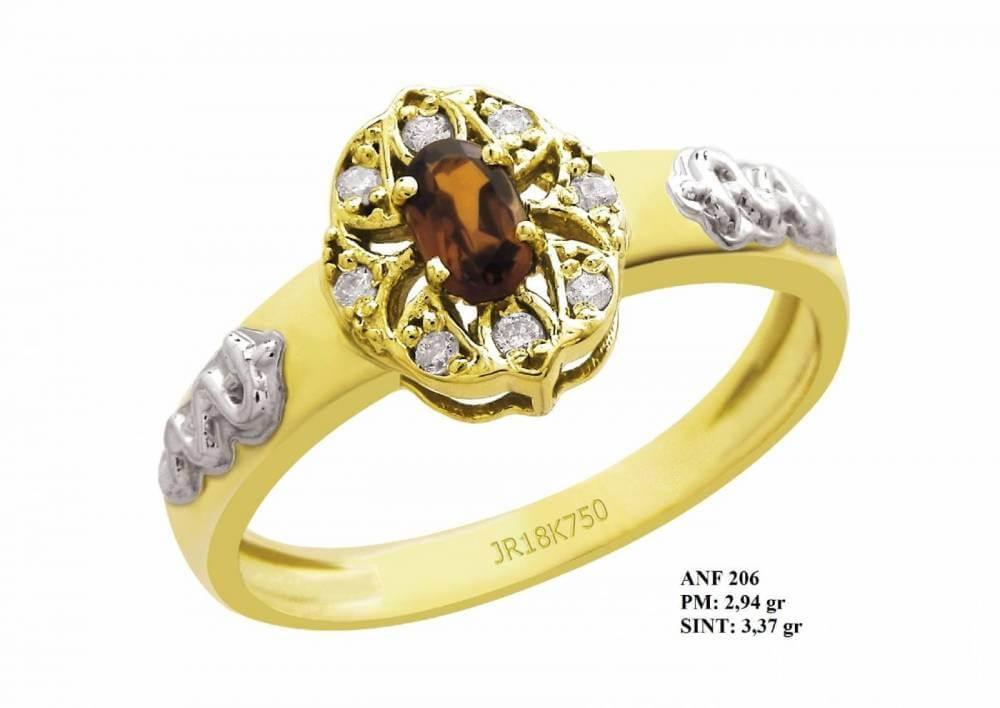 Anel de Formatura Sol em Ouro 18k Amarelo com Detalhes em Ouro Branco Citrino e Brilhantes em Zircônia