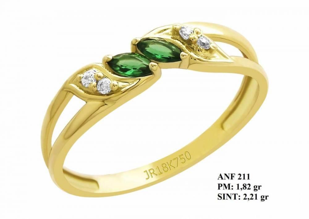 Anel de Formatura Spacial em Ouro 18k Amarelo Pedra Central Esmeralda e Brilhante em Zircônia