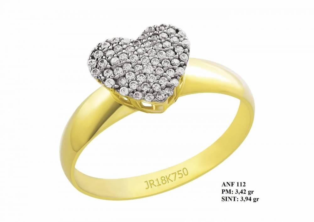 Anel de Formatura Sublime em Ouro 18k Coração em Brilhantes em Zircônia