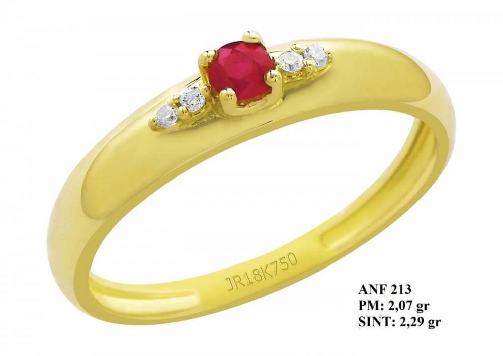 Anel de Formatura Vitória em Ouro 18k Amarelo Pedra Central Rubi e Brilhante em Zircônia