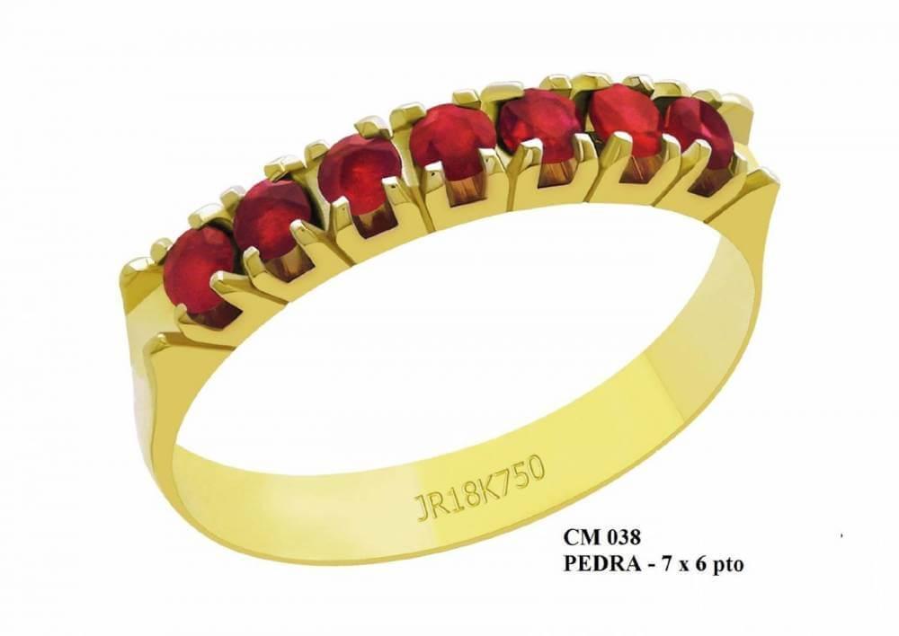 Meia Aliança de Ouro 18K Afrodite com Rubi