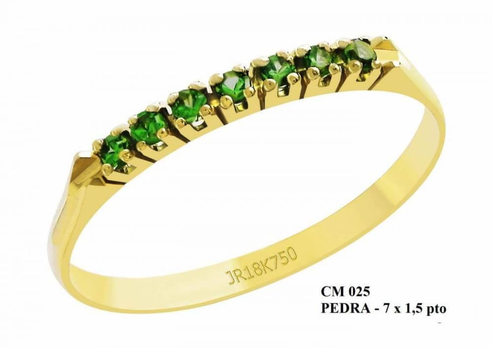 Meia Aliança de Ouro 18K Dallas em Esmeralda