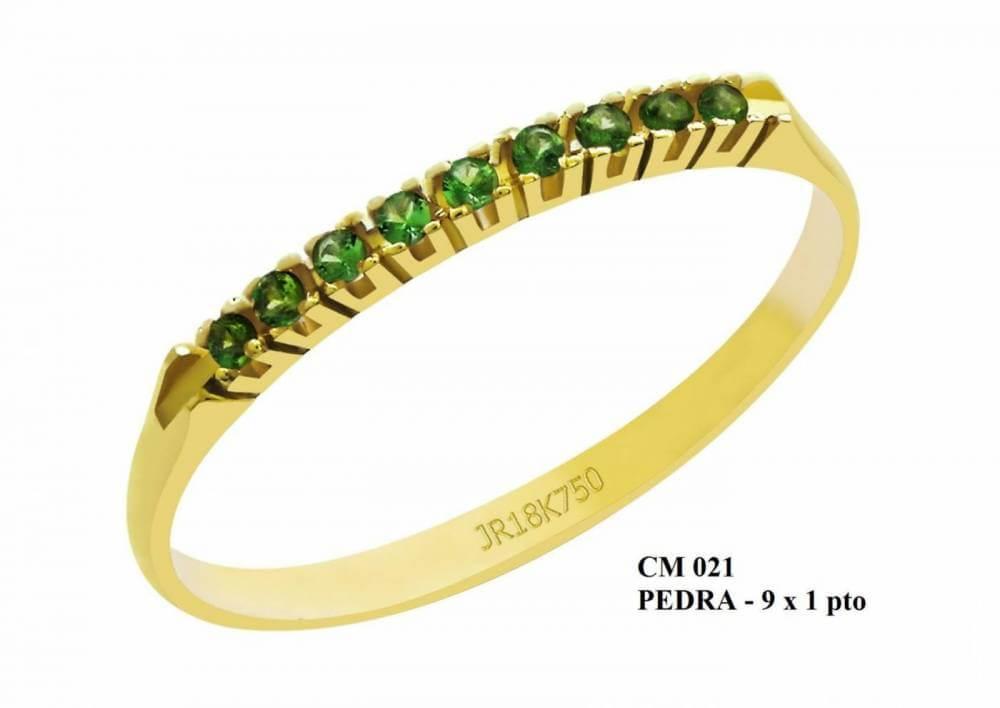 Meia Aliança de Ouro 18K Roma com Esmeraldas