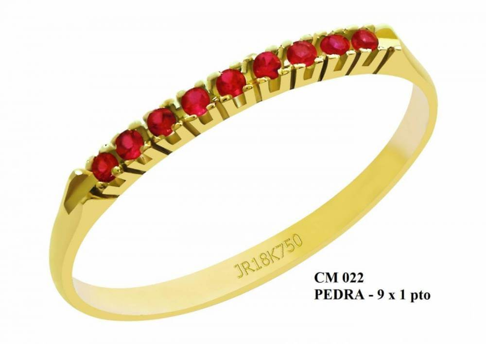 Meia Aliança de Ouro 18K Veneza com Rubis