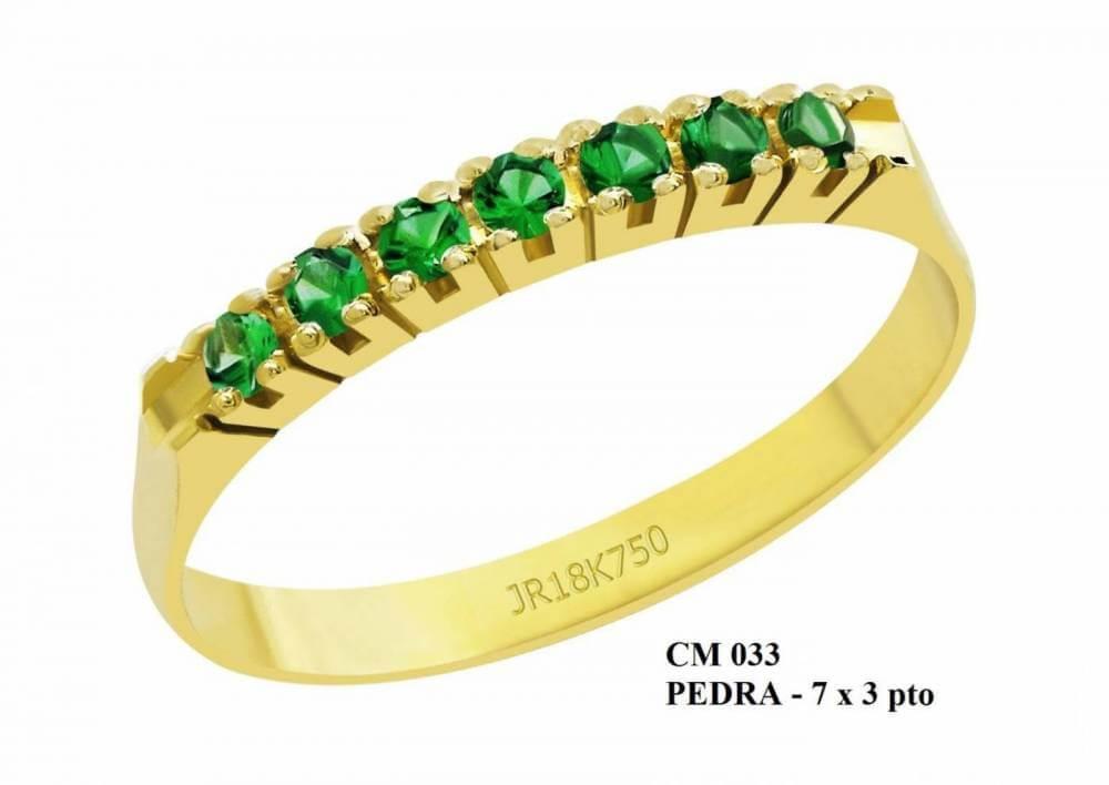 Meia Aliança de Ouro 18K Virginia em Esmeralda
