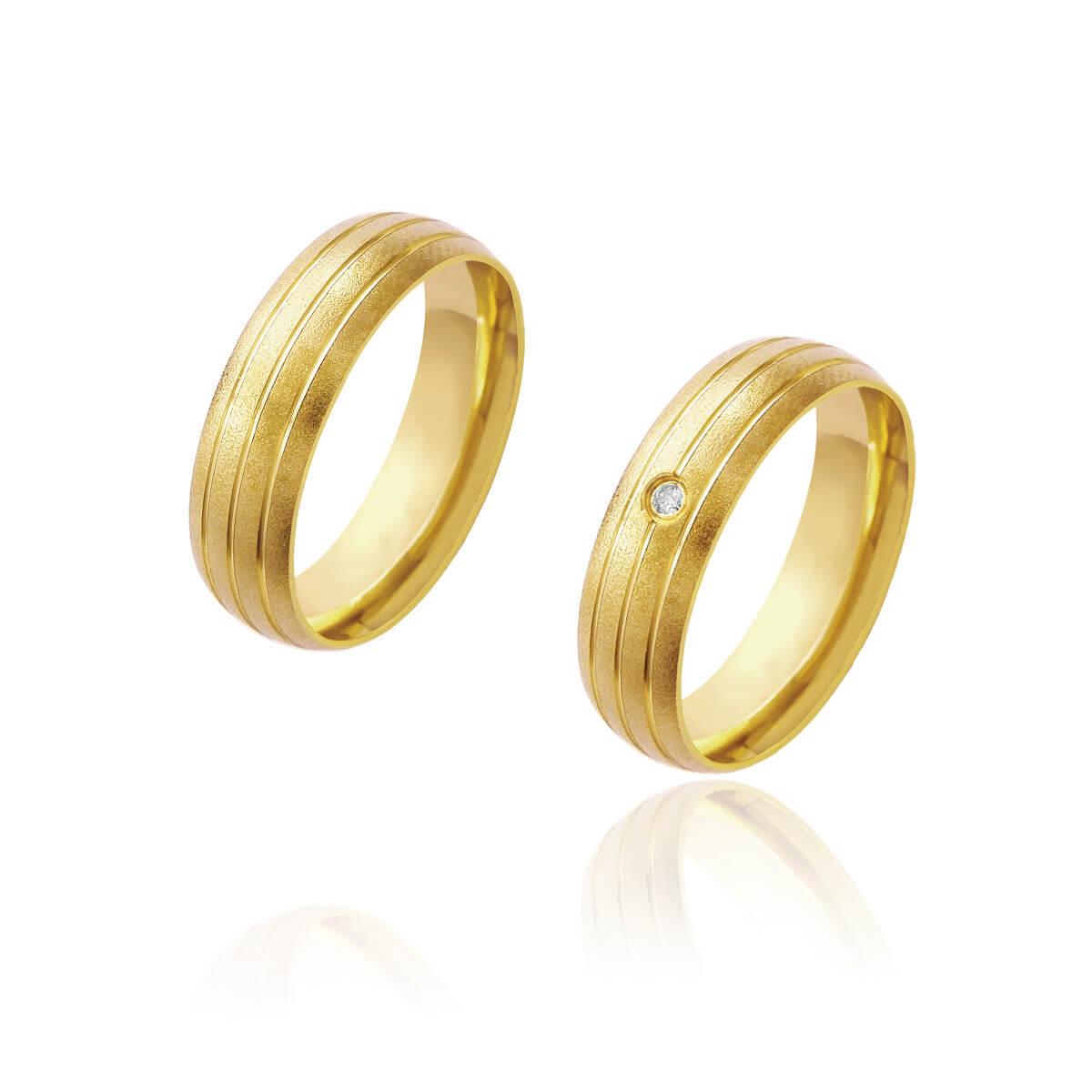 Par de Alianças de Casamento Afrodite Ouro 18k 3 Frisos e Brilhante Zircönia Central 6mm 7g