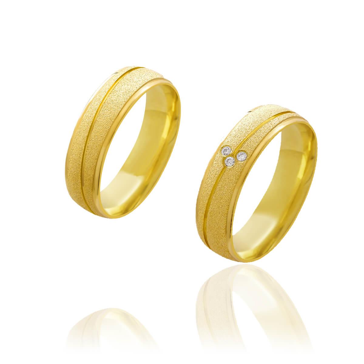 Par de Alianças de Casamento Afrodite Ouro 18k Abaulada Diamantada com Brilhante Zircönias 6mm 6,4g