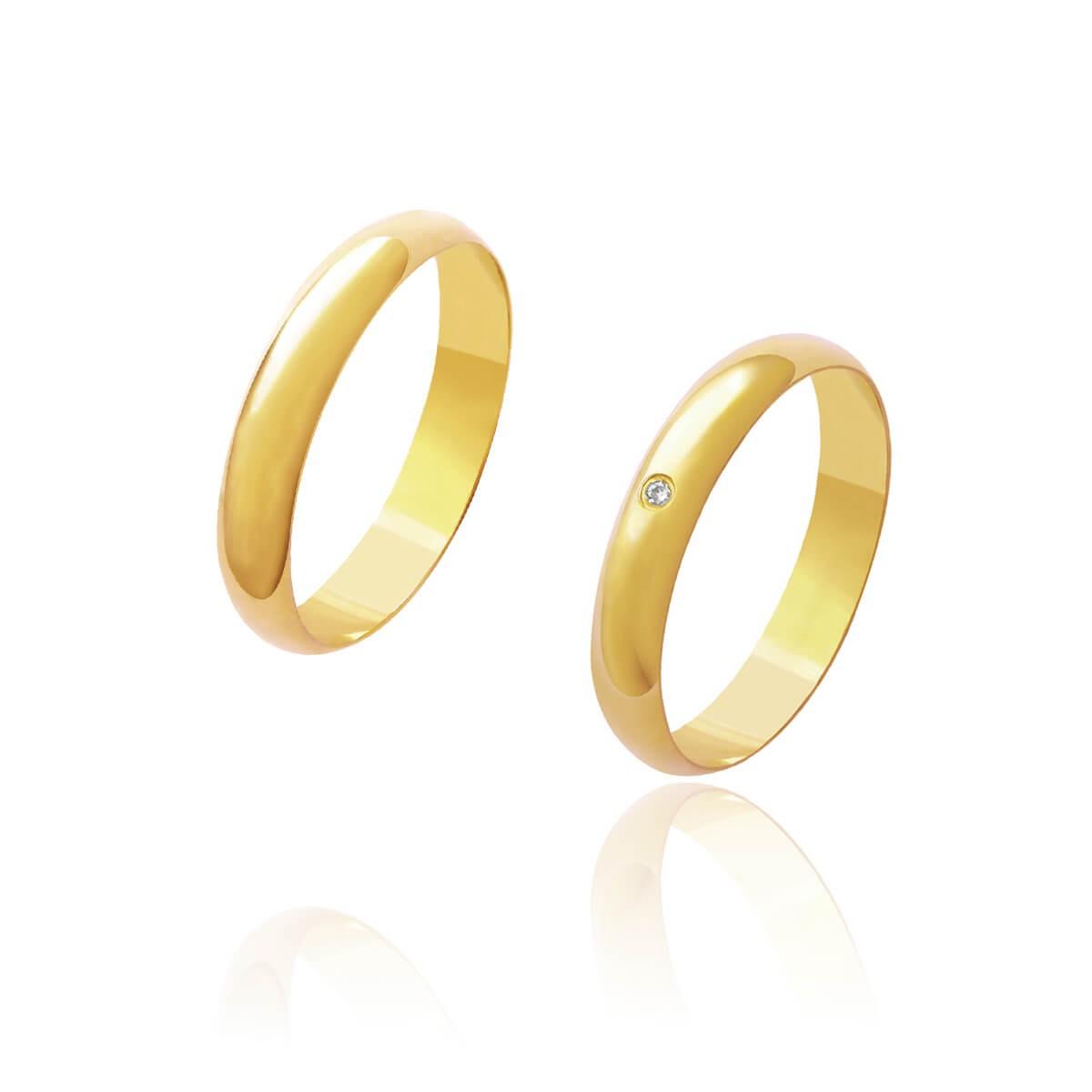 Par de Alianças de Casamento Afrodite Ouro 18k Abaulado com Brilhante Zircönia Central 3,5 mm 4 g