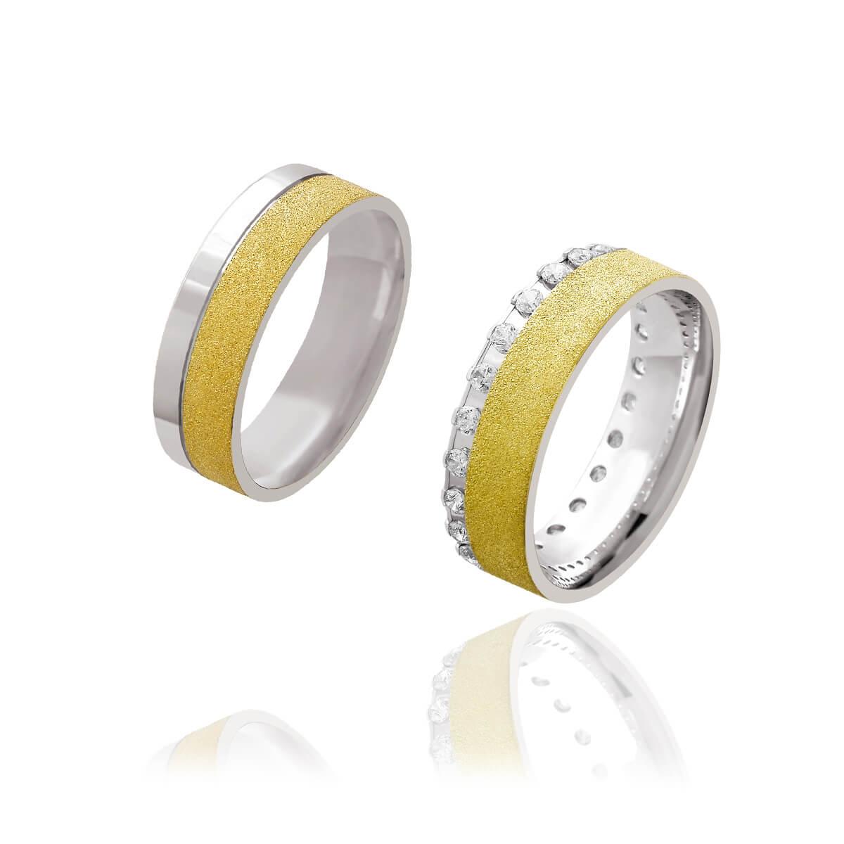 Par de Alianças de Casamento Afrodite Ouro 18k Branco com Aplique de Ouro 18k Diamantado 6mm 14g