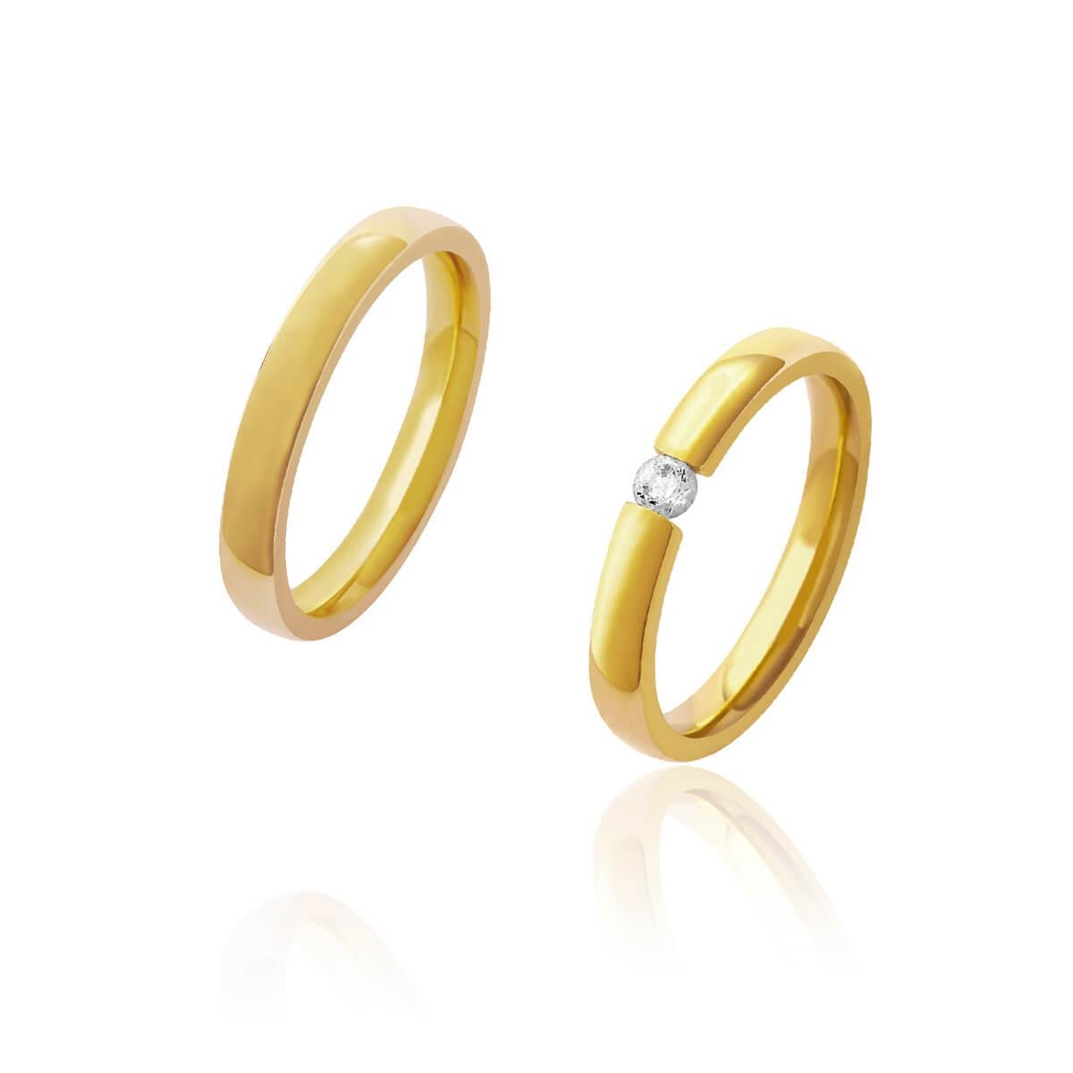 Par de Alianças de Casamento Afrodite Ouro 18k com Brilhante Central 3,2mm 6 g