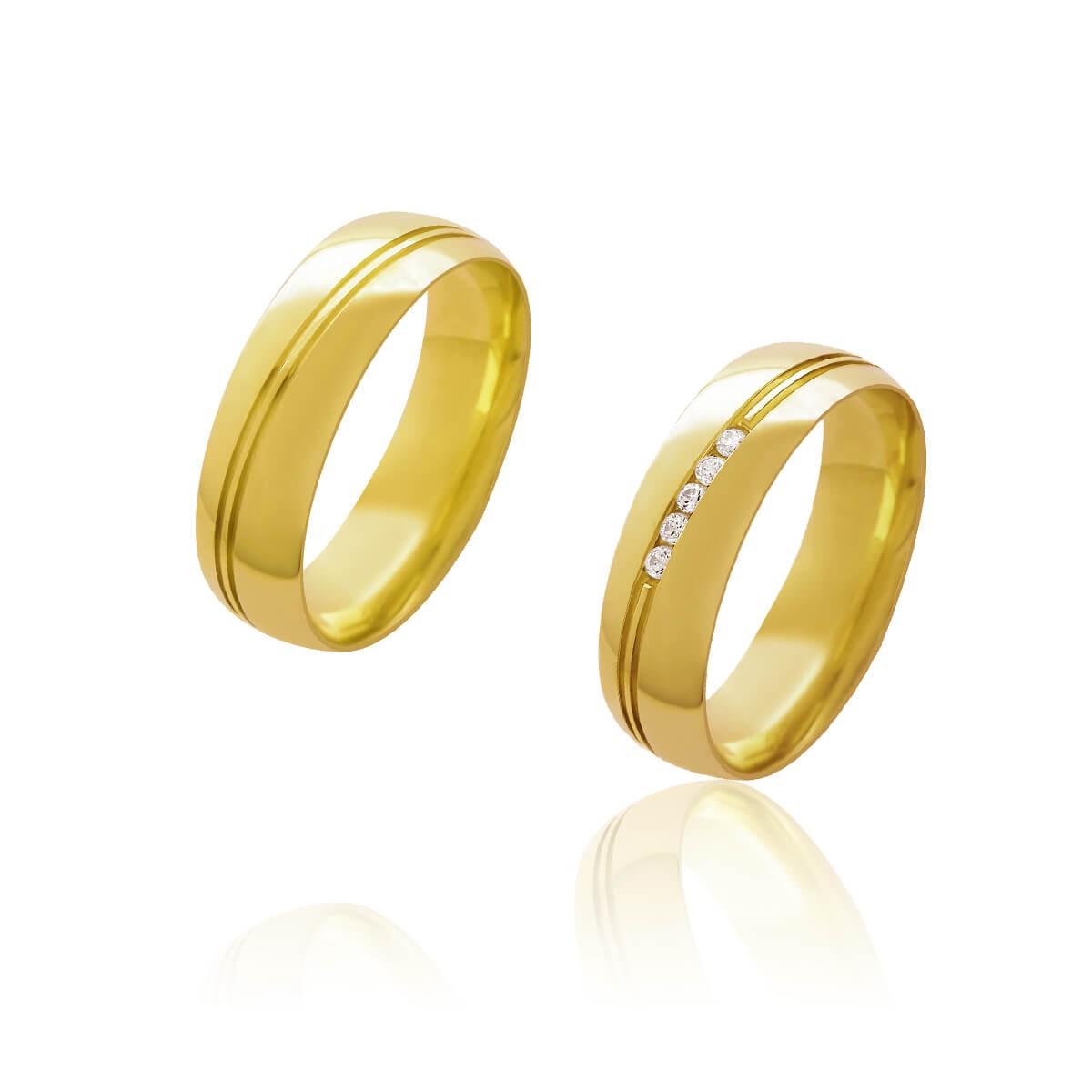 Par de Alianças de Casamento Afrodite Ouro 18k com Chanfro Diagonal e Brilhantes 5mm 7g