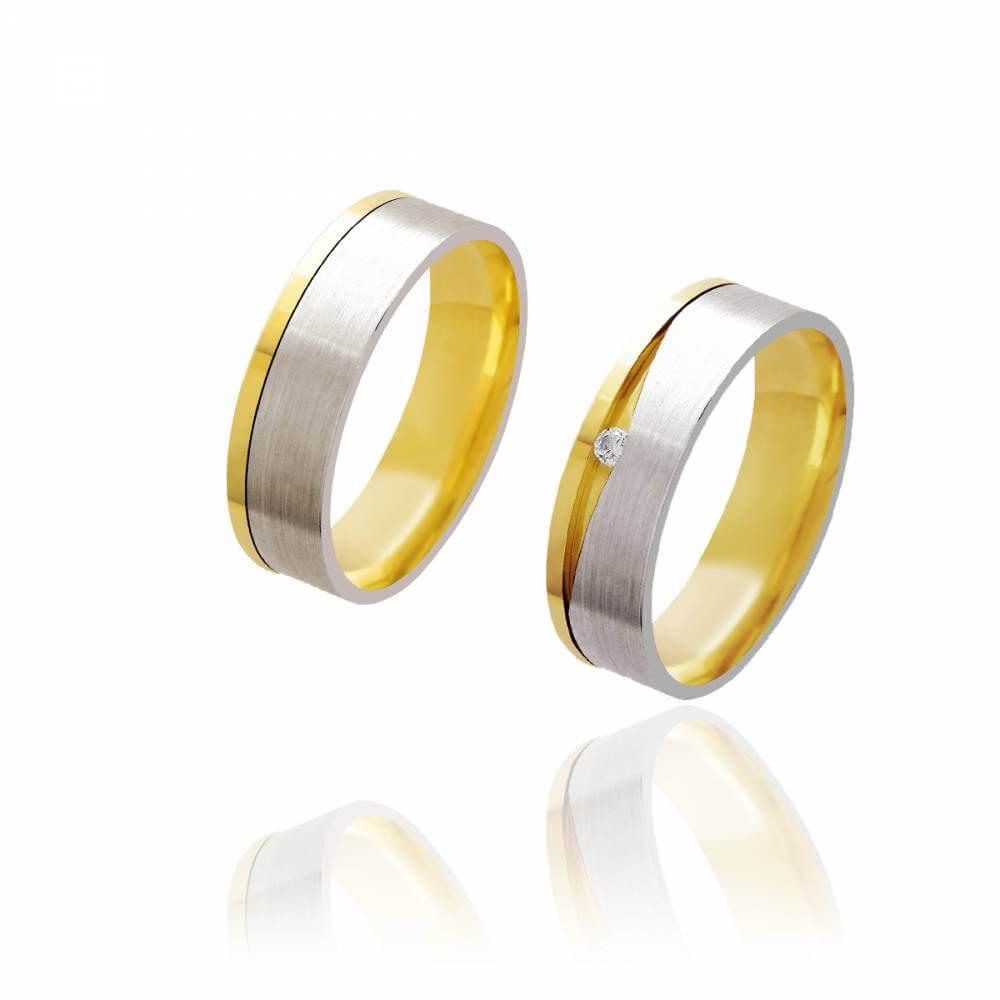 Par de Alianças de Casamento Afrodite Ouro 18k com Ouro 18k Branco Diamantado e Brilhante 6mm 7g