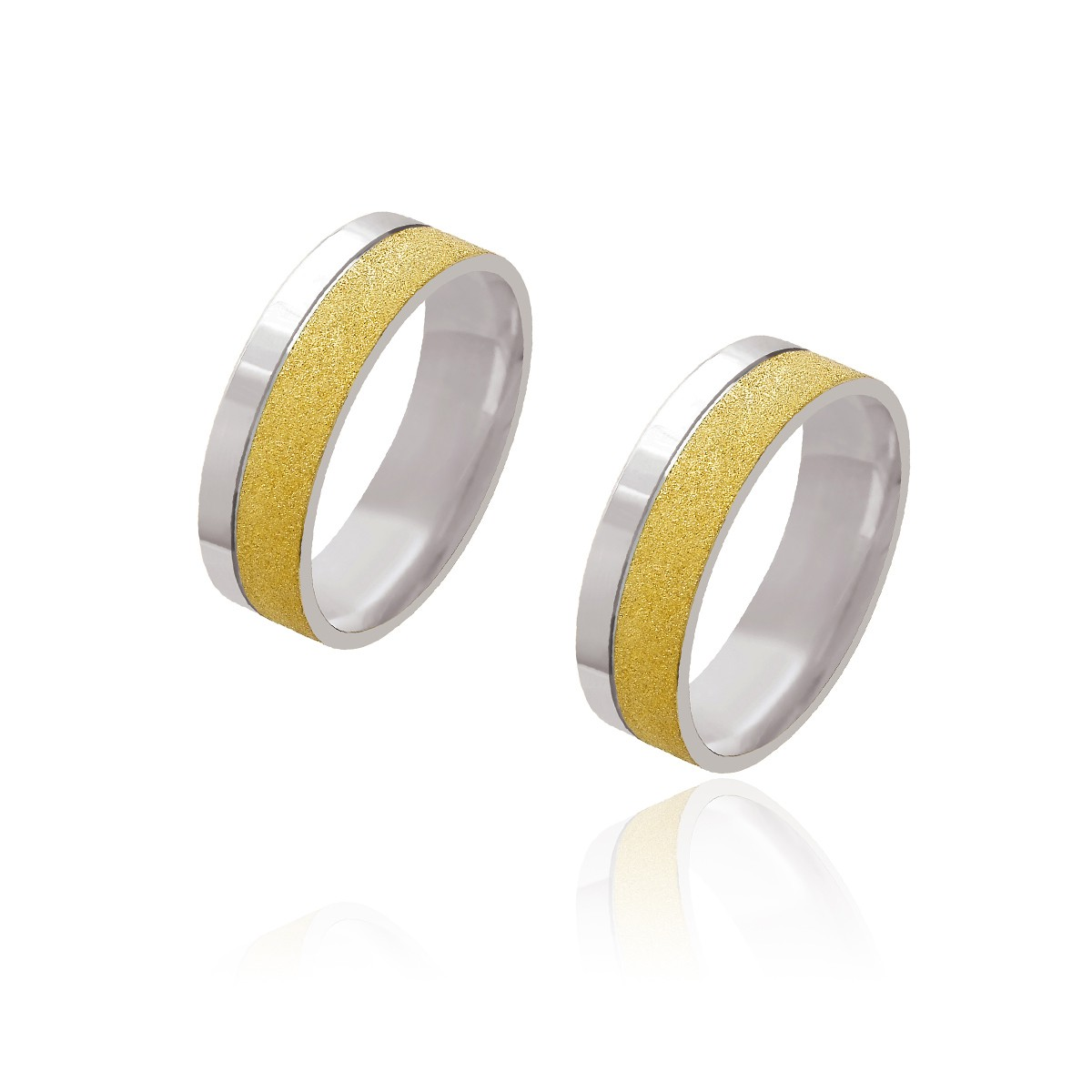 Par de Alianças de Casamento Afrodite Ouro 18k com Ouro 18k Branco Reto Friso 6mm 14g