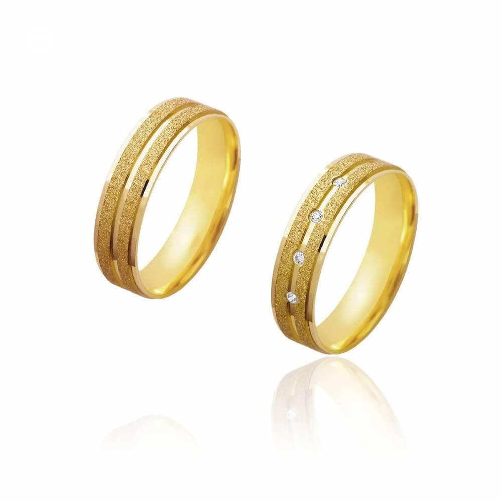 Par de Alianças de Casamento Afrodite Ouro 18k Diamantado Brilhantes 5 mm 5.5g