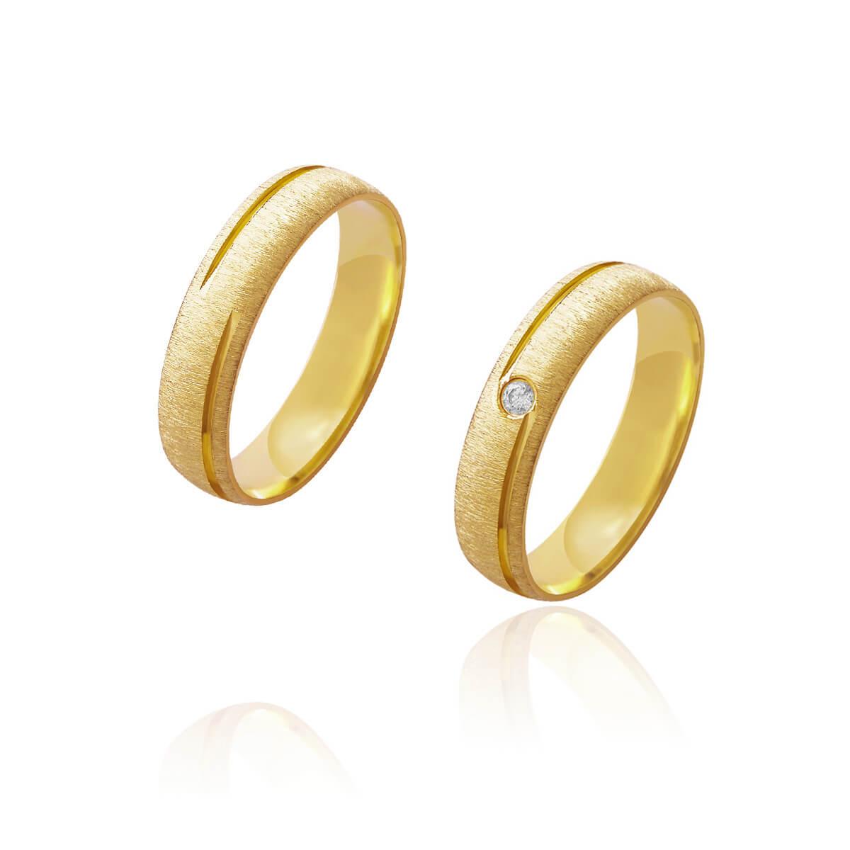 Par de Alianças de Casamento Afrodite Ouro 18k Diamantado com Brilhante Central 5mm 5.5g