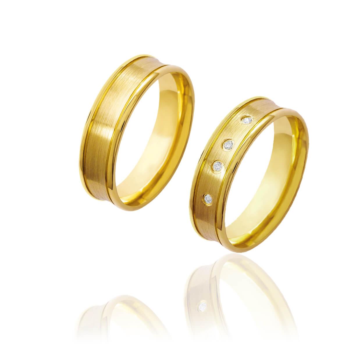Par de Alianças de Casamento Afrodite Ouro 18k Diamantado com Centro Côncavo e Brilhantes 6mm 6g