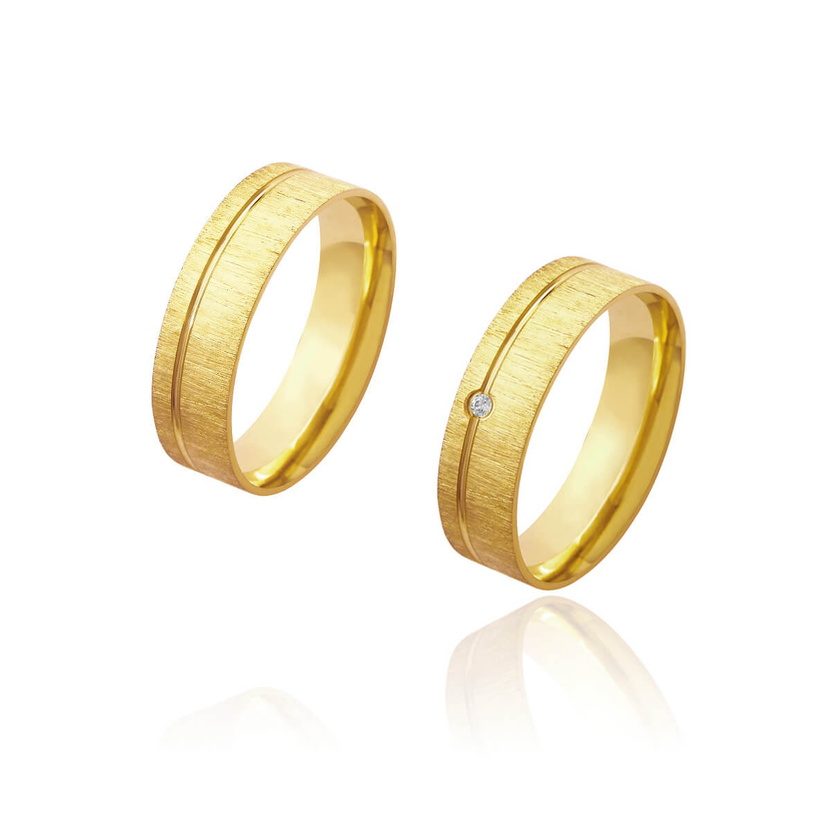 Par de Alianças de Casamento Afrodite Ouro 18k Diamantado com Friso e Brilhante Lateral 6mm 6g