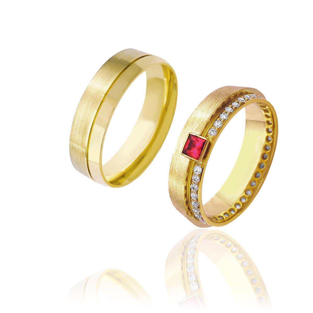 Par de Alianças de Casamento Afrodite Ouro 18k Diamantado Cravejado de Brilhantes e Rubi 6mm 6g