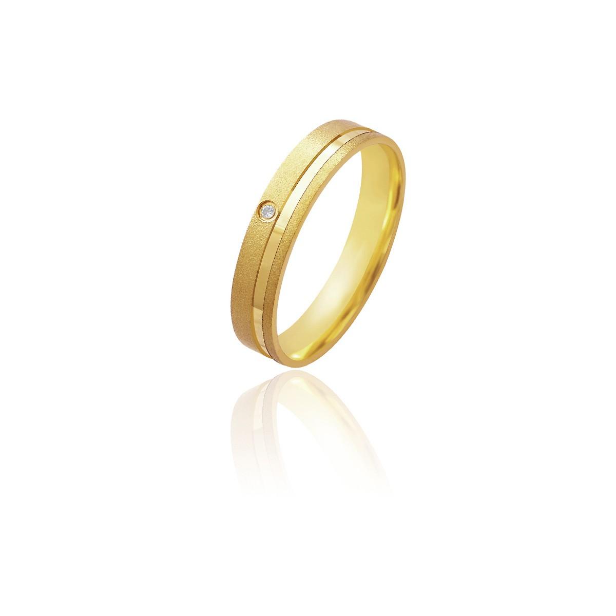 Par de Alianças de Casamento Afrodite Ouro 18k Diamantado Retas com Friso e Brilhante Lateral 5mm 5g