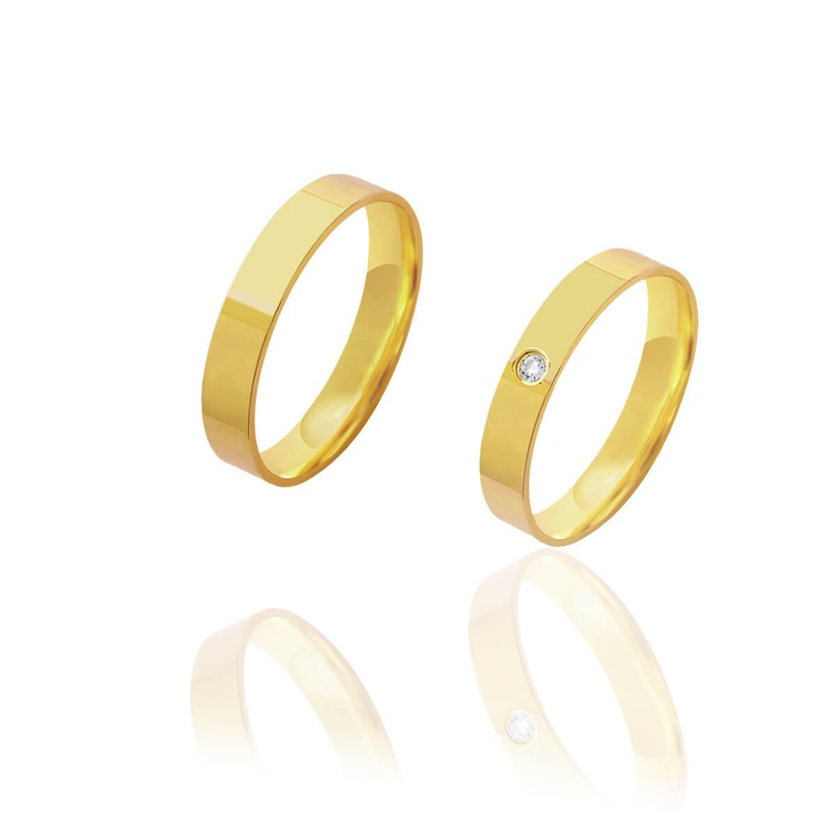Par de Alianças de Casamento Afrodite Ouro 18k Reta Brilhante Central Embutido 4mm 5g