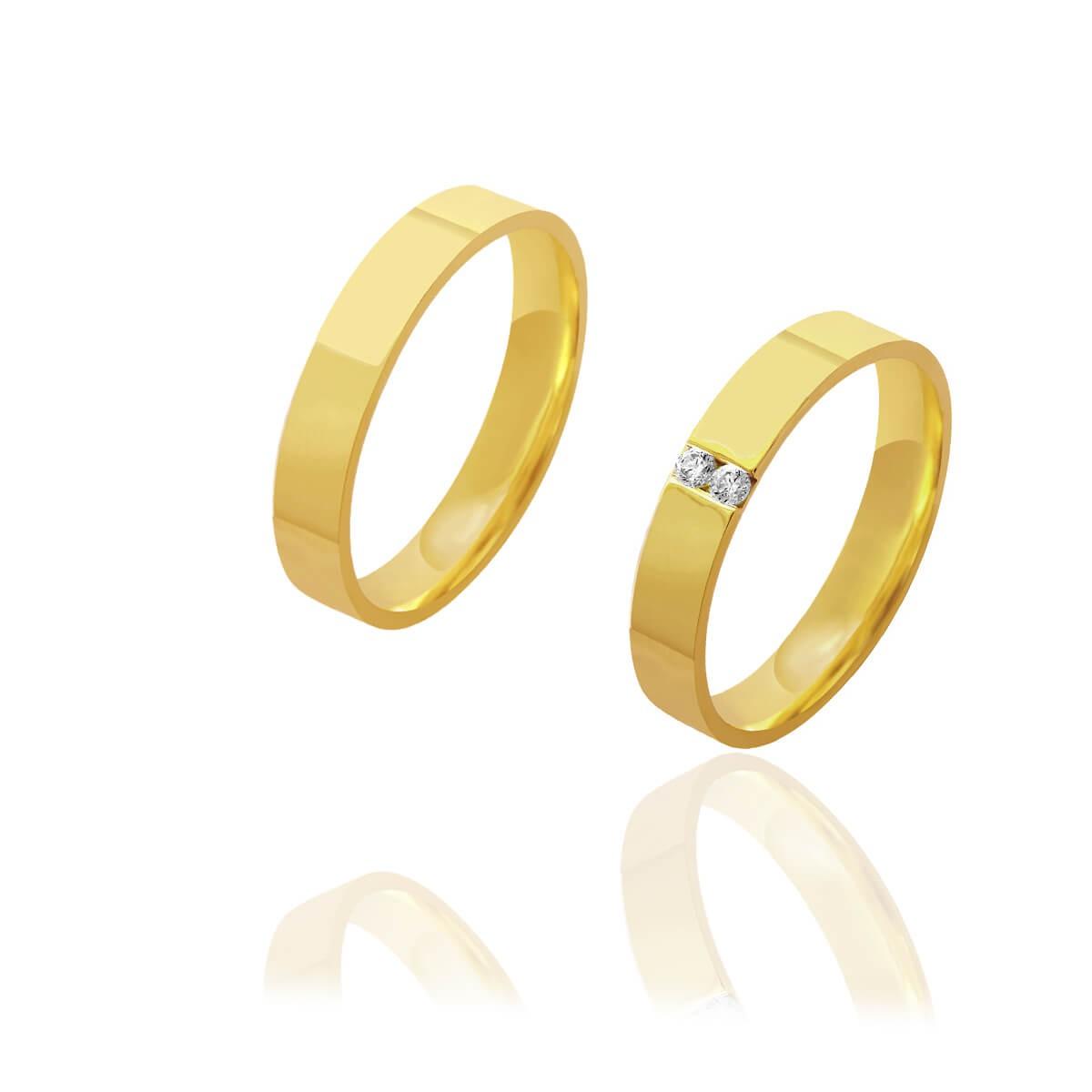 Par de Alianças de Casamento Afrodite Ouro 18k Reta com 2 Brilhantes Centrais Embutidos 4mm 5,4g