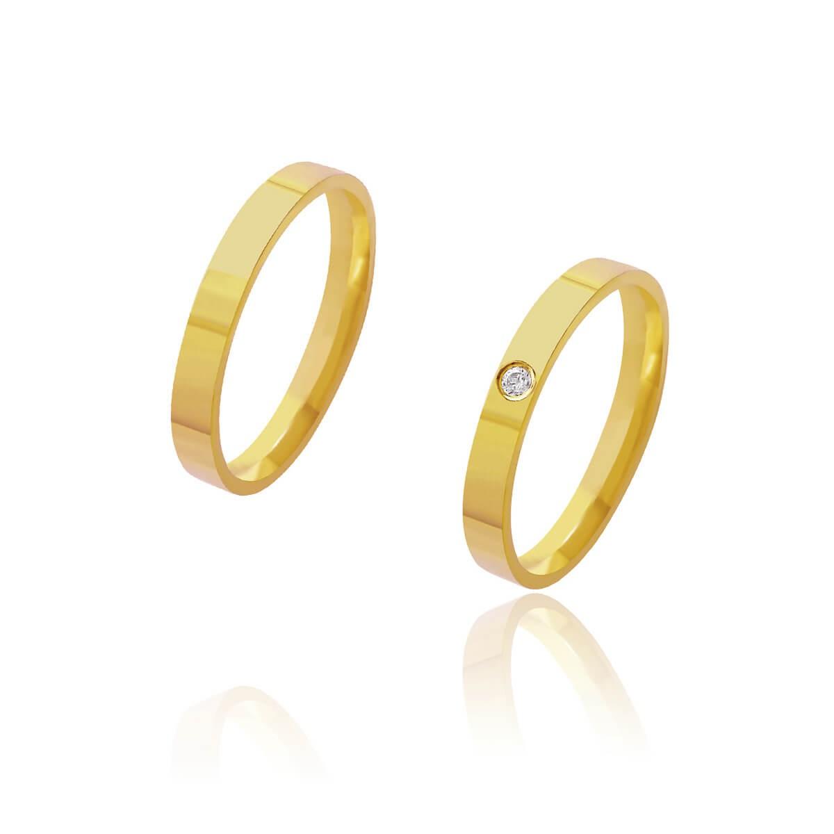 Par de Alianças de Casamento Afrodite Ouro 18k Reta com Brilhante 3mm 4g