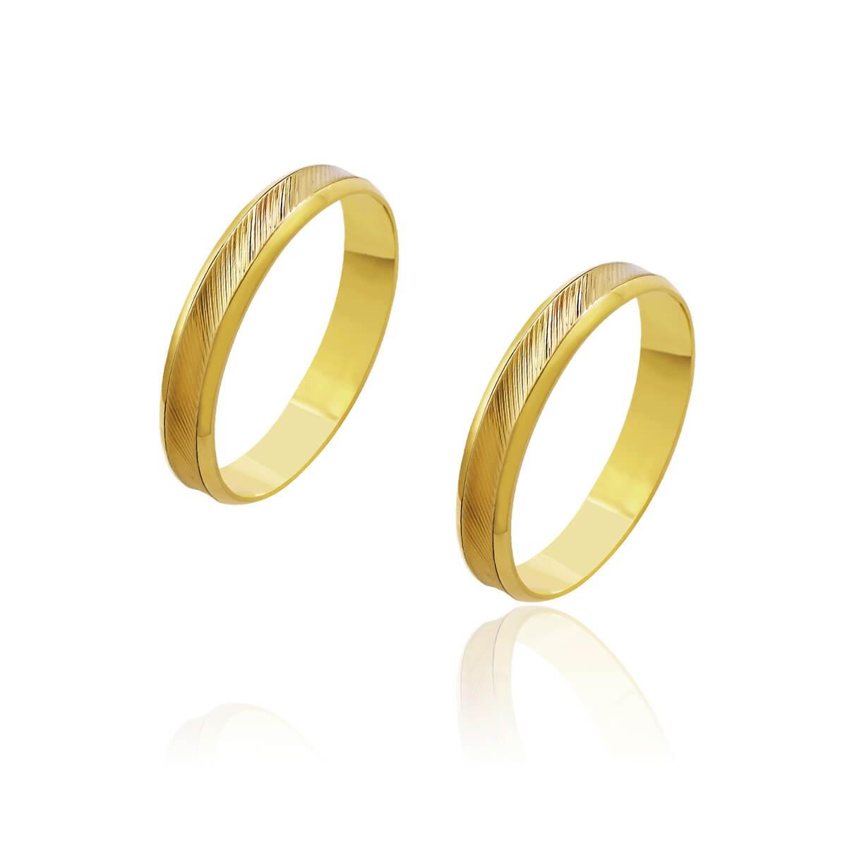 Par de Alianças de Casamento Artemis Ouro 18k Central Ouro Rosé Trabalhado 4,1mm 4g