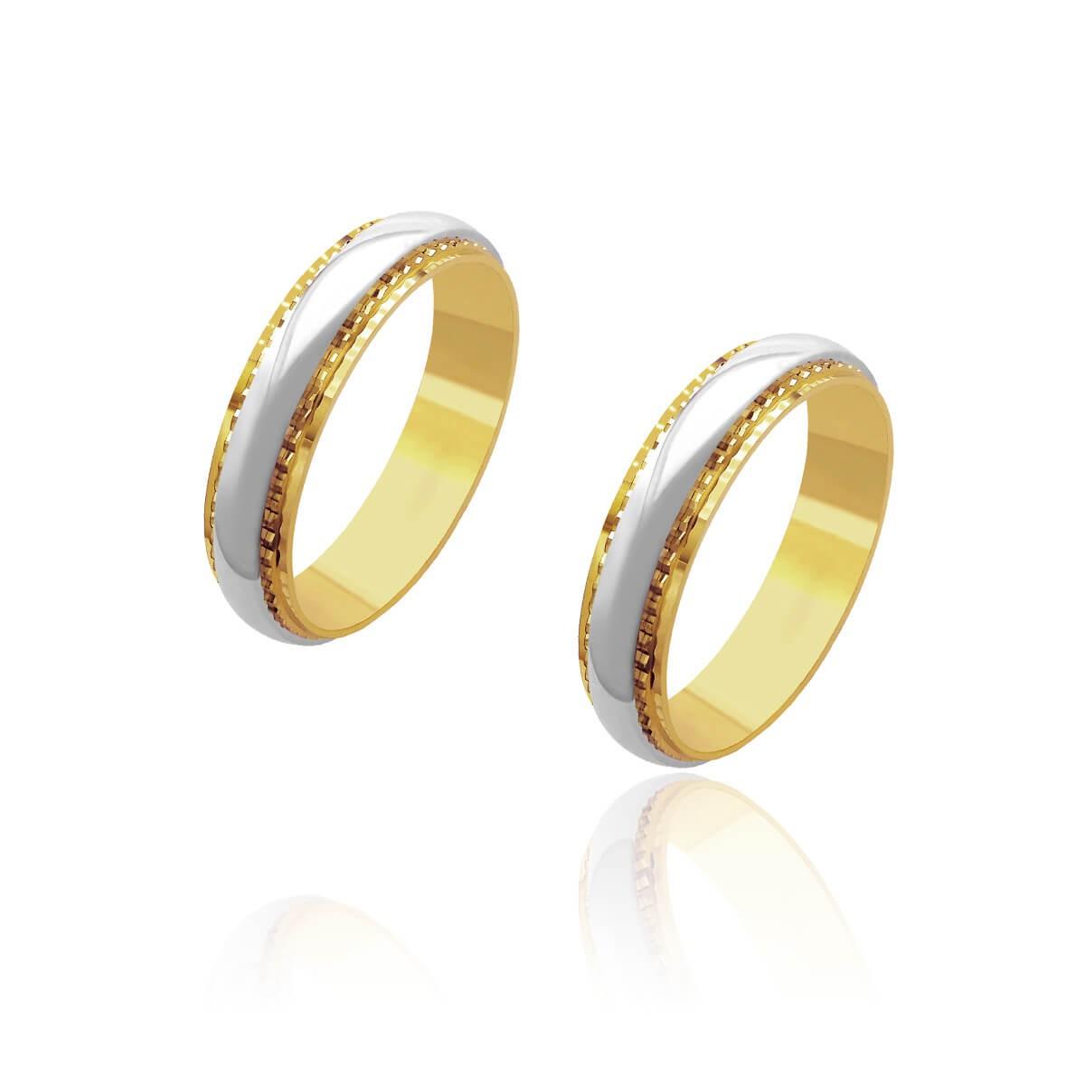 Par de Alianças de Casamento Artemis Ouro 18k Trabalhada Friso Ouro Branco 5mm 10g
