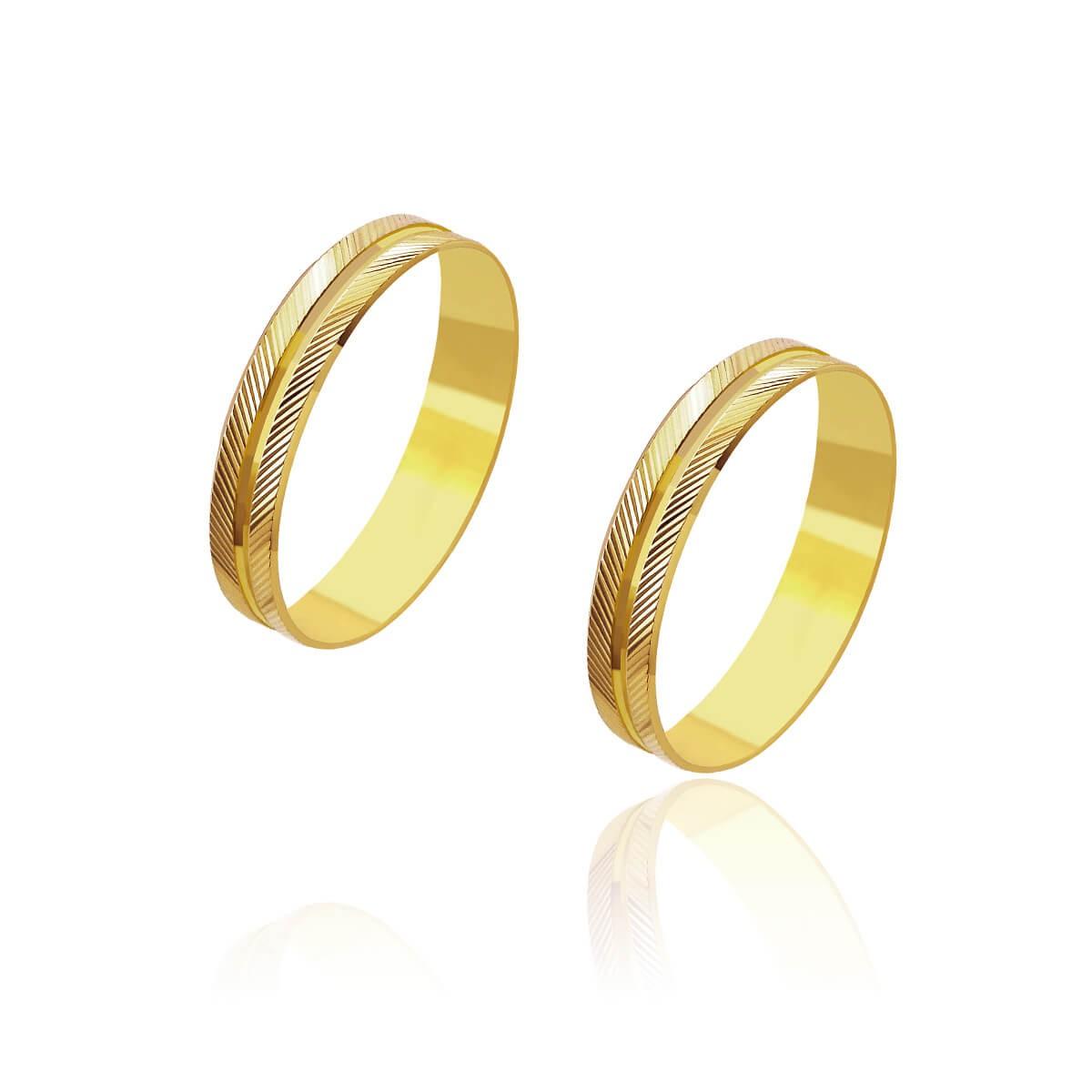 Par de Alianças de Casamento Artemis Ouro 18k Trabalhado Duplo 3,8mm 2,8g