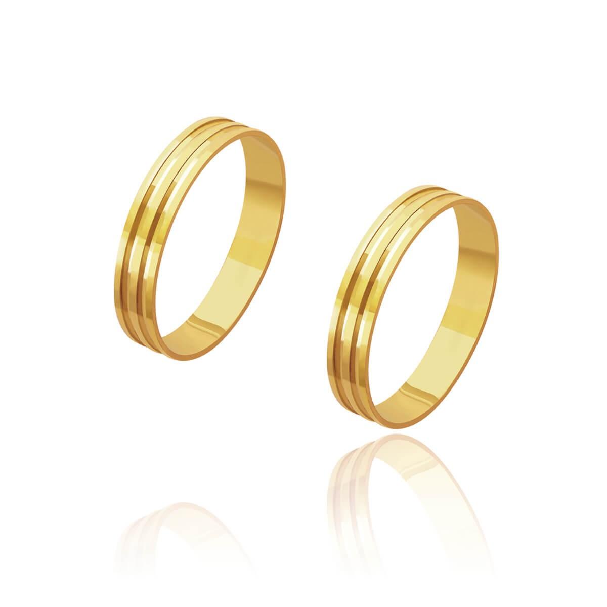 Par de Alianças de Casamento Cronos Ouro 18k 2 Frisos Centrais 4mm 3g