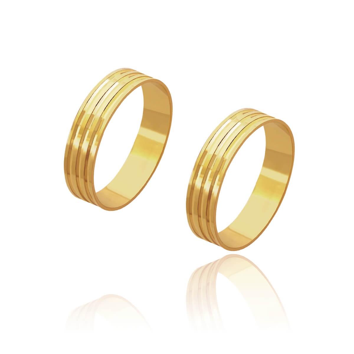 Par de Alianças de Casamento Cronos Ouro 18k 3 Frisos Centrais 5mm 4g