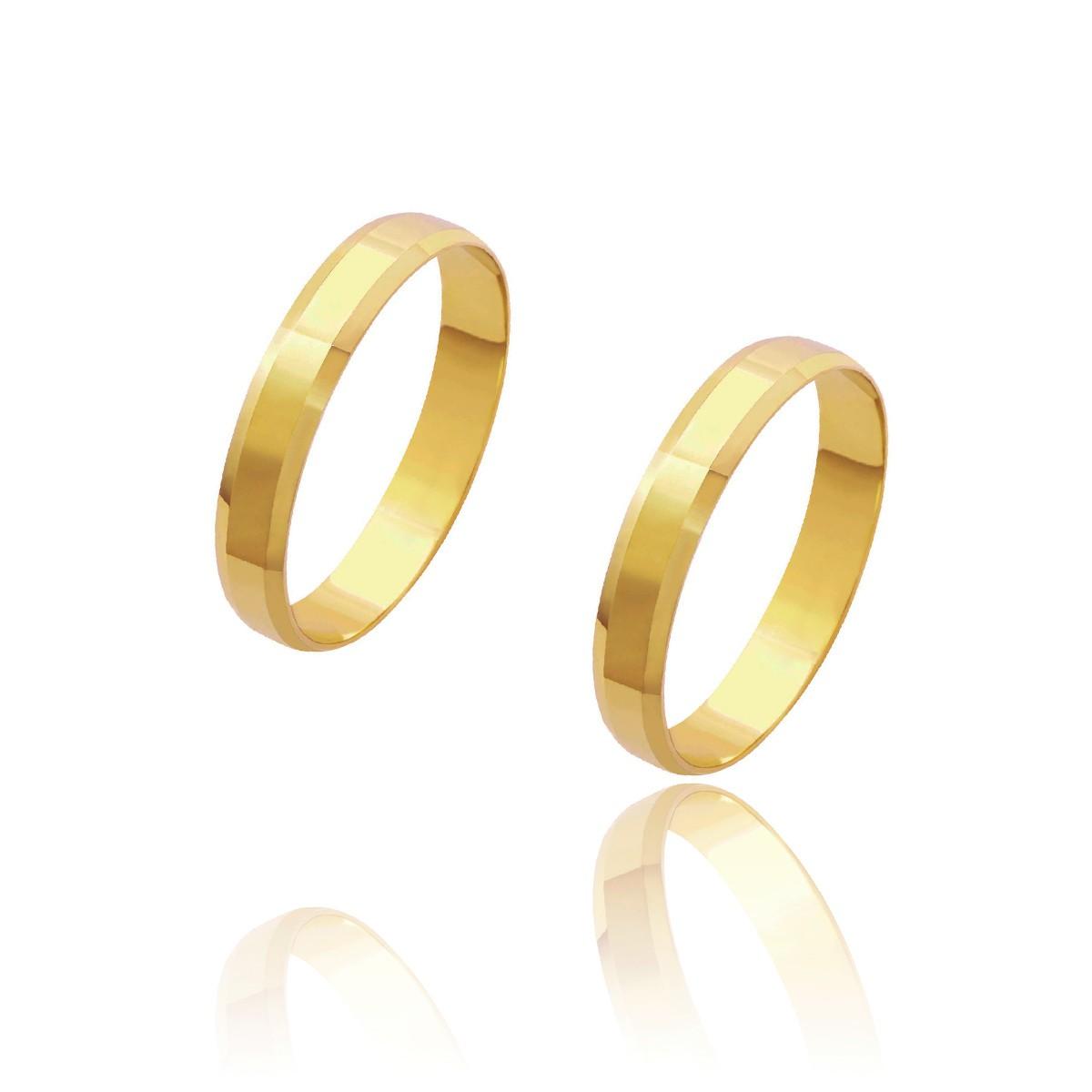 Par de Alianças de Casamento Cronos Ouro 18k com Laterais Chanfradas 3,5mm 3,2g