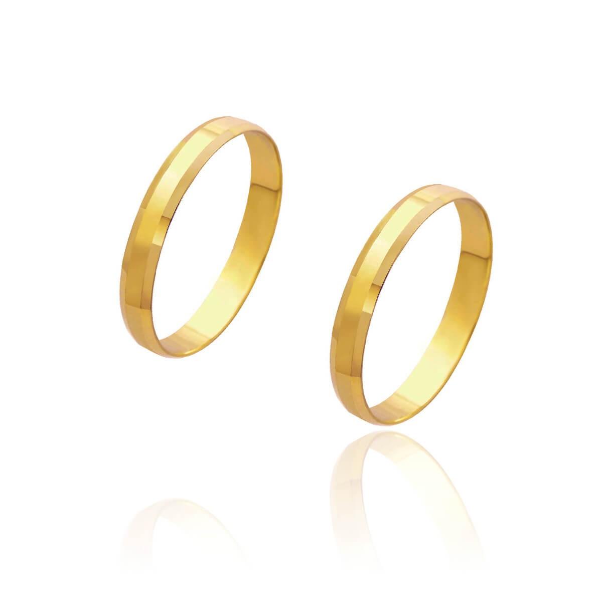 Par de Alianças de Casamento Cronos Ouro 18k Laterais Chanfradas 3mm 2g
