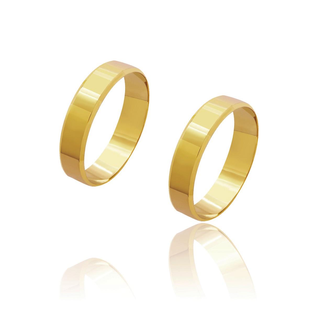 Par de Alianças de Casamento Cronos Ouro 18k Laterais Chanfradas 4,6mm 5g