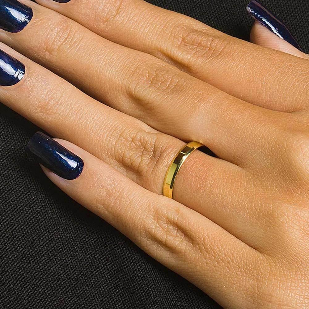 Par de Alianças de Casamento Cronos Ouro 18k Laterais Chanfradas 5mm 5g