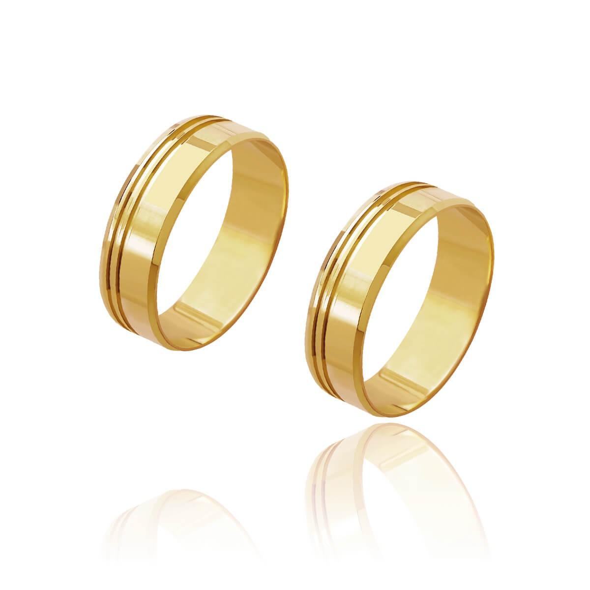 Par de Alianças de Casamento Cronos Ouro 18k Reta 2 Frisos Laterais 5mm 6g
