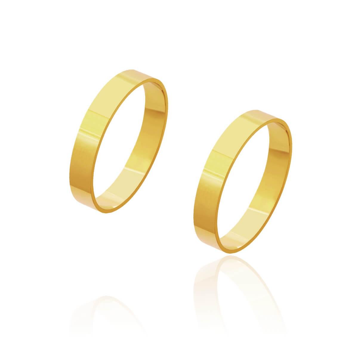 Par de Alianças de Casamento Cronos Ouro 18k Reta 3,5mm 4g