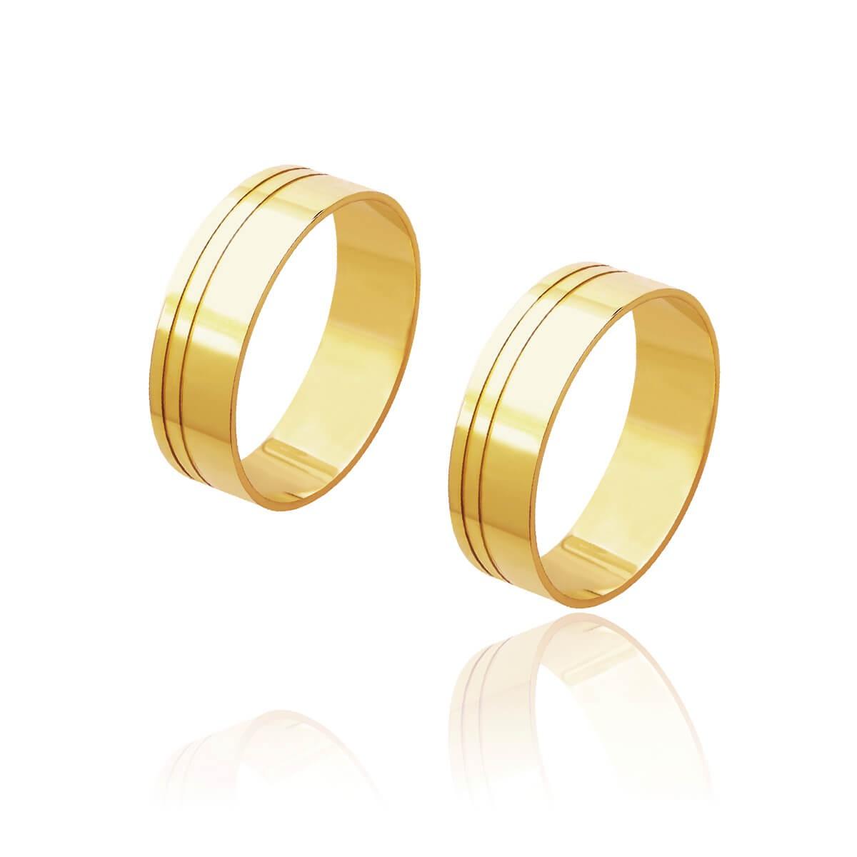 Par de Alianças de Casamento Cronos Ouro 18k Reta Frisos Laterais 6mm 6g