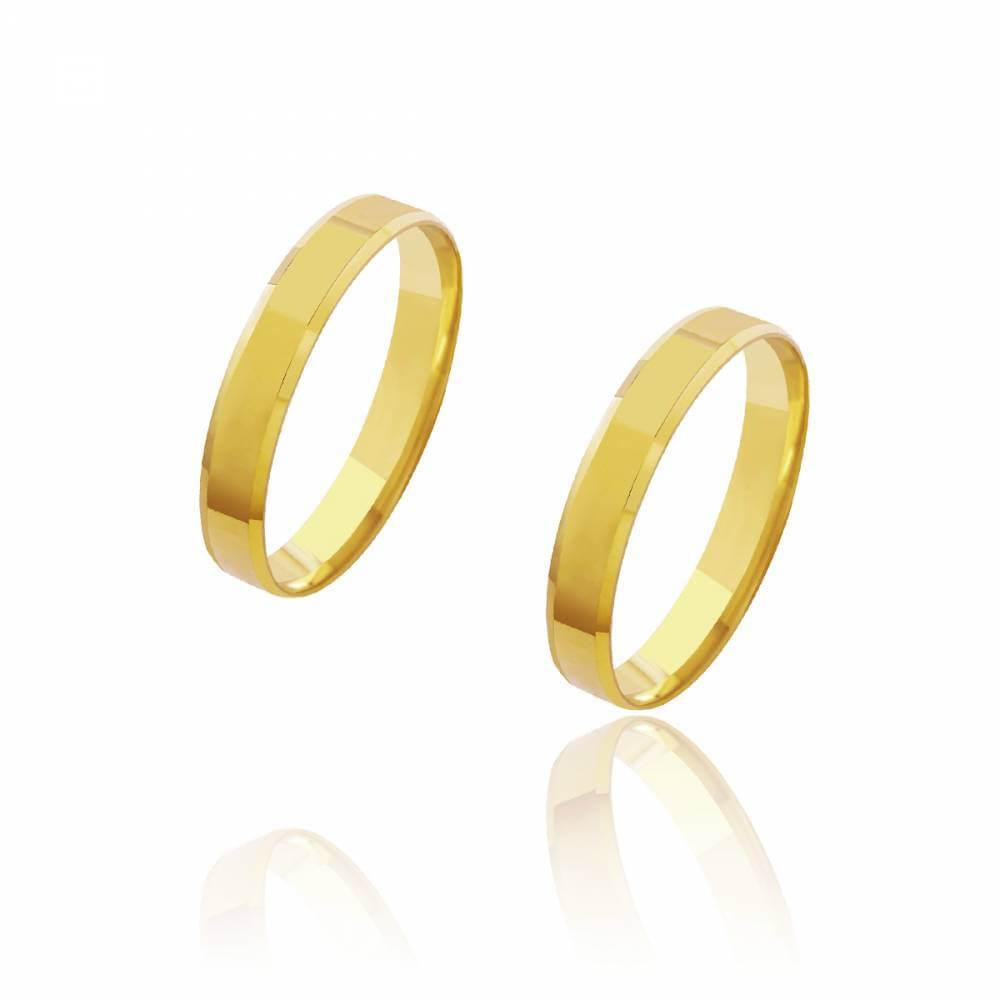 Par de Alianças de Casamento Cronos Ouro 18k Reta Laterais Chanfradas 3,5mm 3,5g