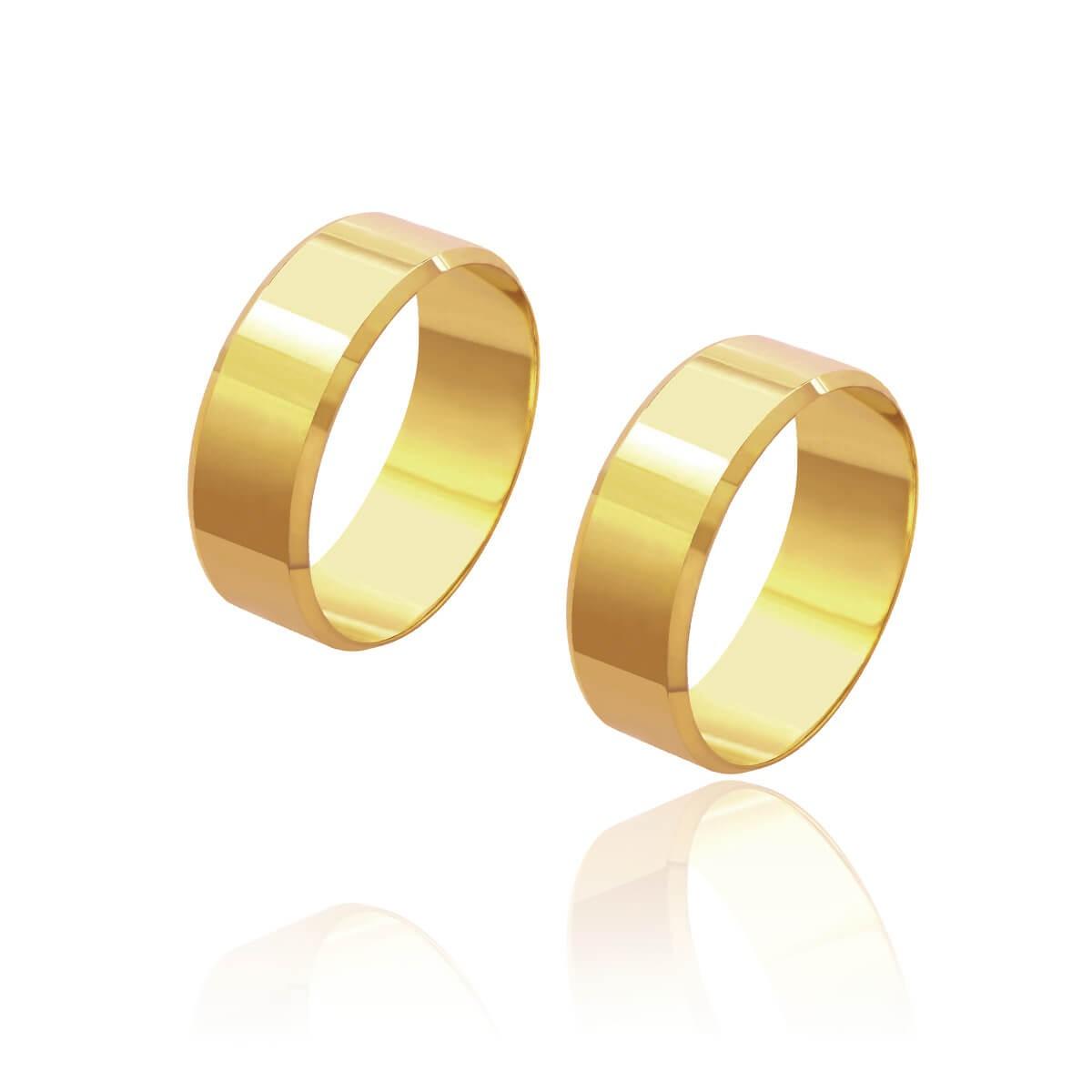 Par de Alianças de Casamento Cronos Ouro 18k Reta Laterais Chanfradas 7mm 9,2g