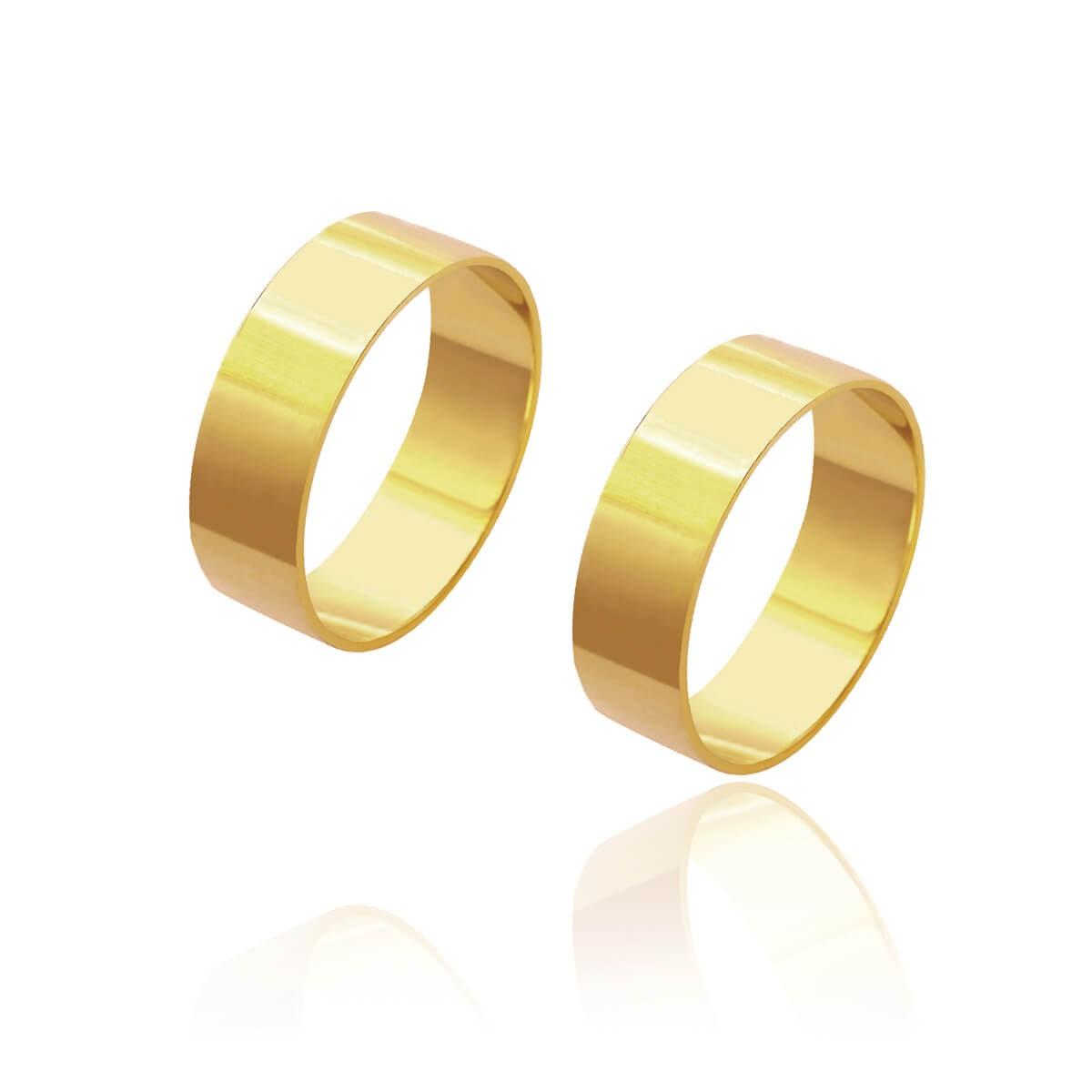 Par de Alianças de Casamento Cronos Ouro 18k Reta Lisa 6,5mm 6,8g