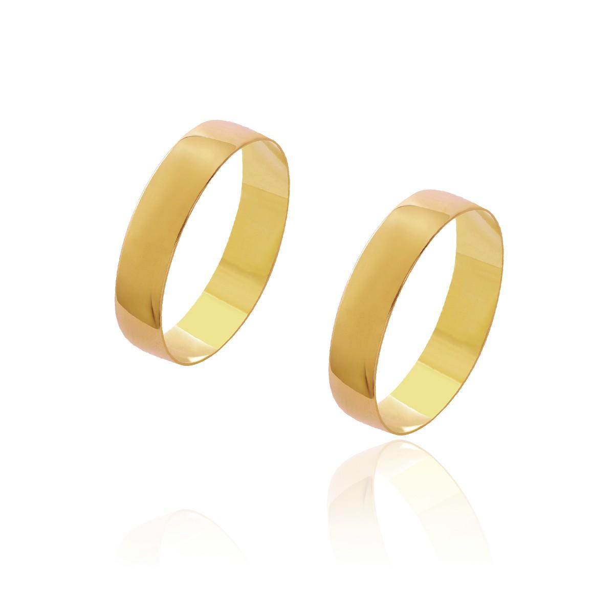 Par de Alianças de Casamento Diana Ouro 18 K Abaulada Lisa 4,5mm 4g