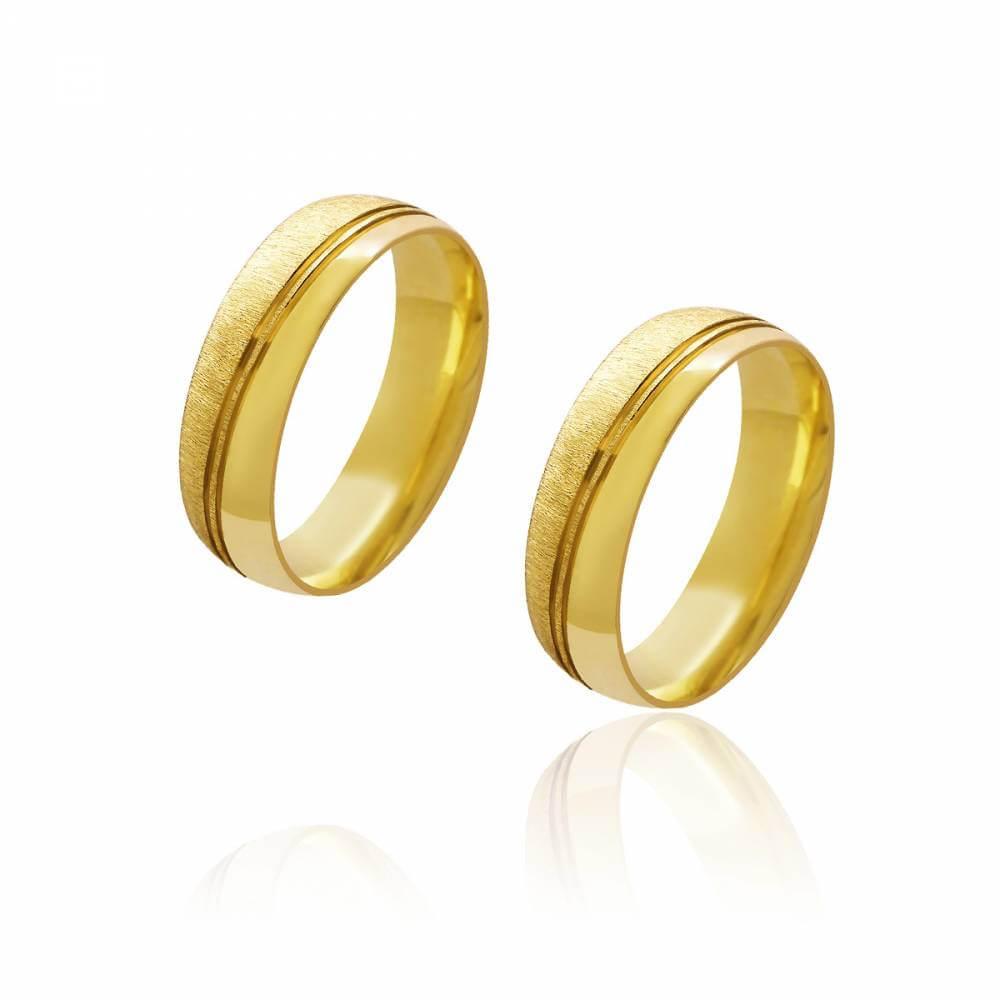 Par de Alianças de Casamento Diana Ouro 18K Abaulada Diamantada Lisa Frisos Transversais 6mm 10,6g
