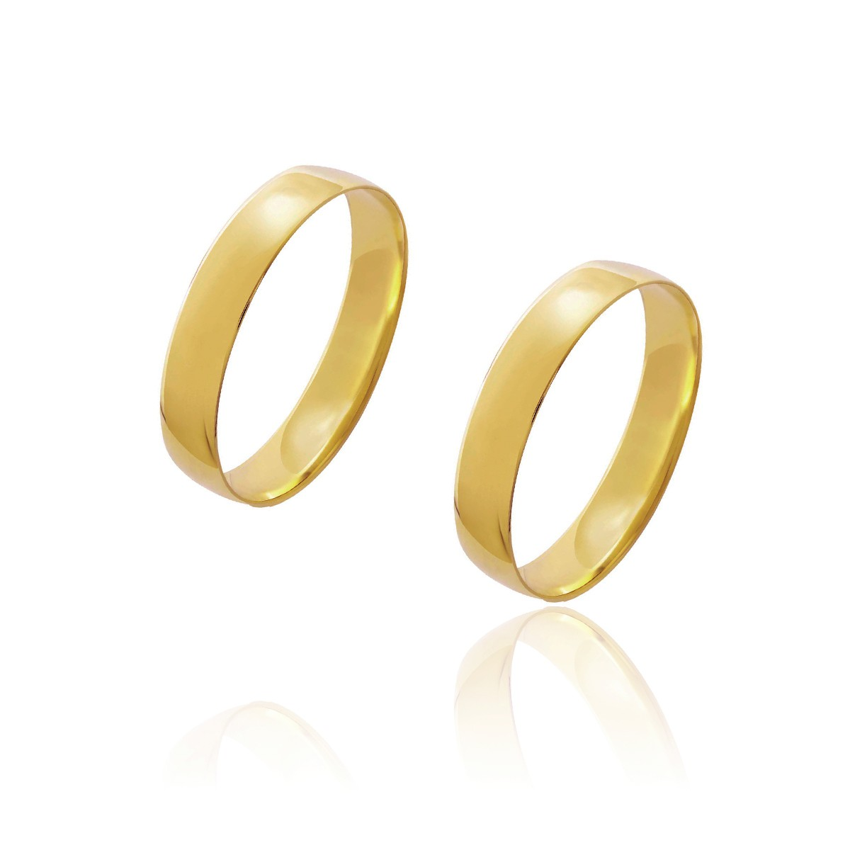 Par de Alianças de Casamento Diana Ouro 18k Abaulada Lisa 4,1mm 3,8g