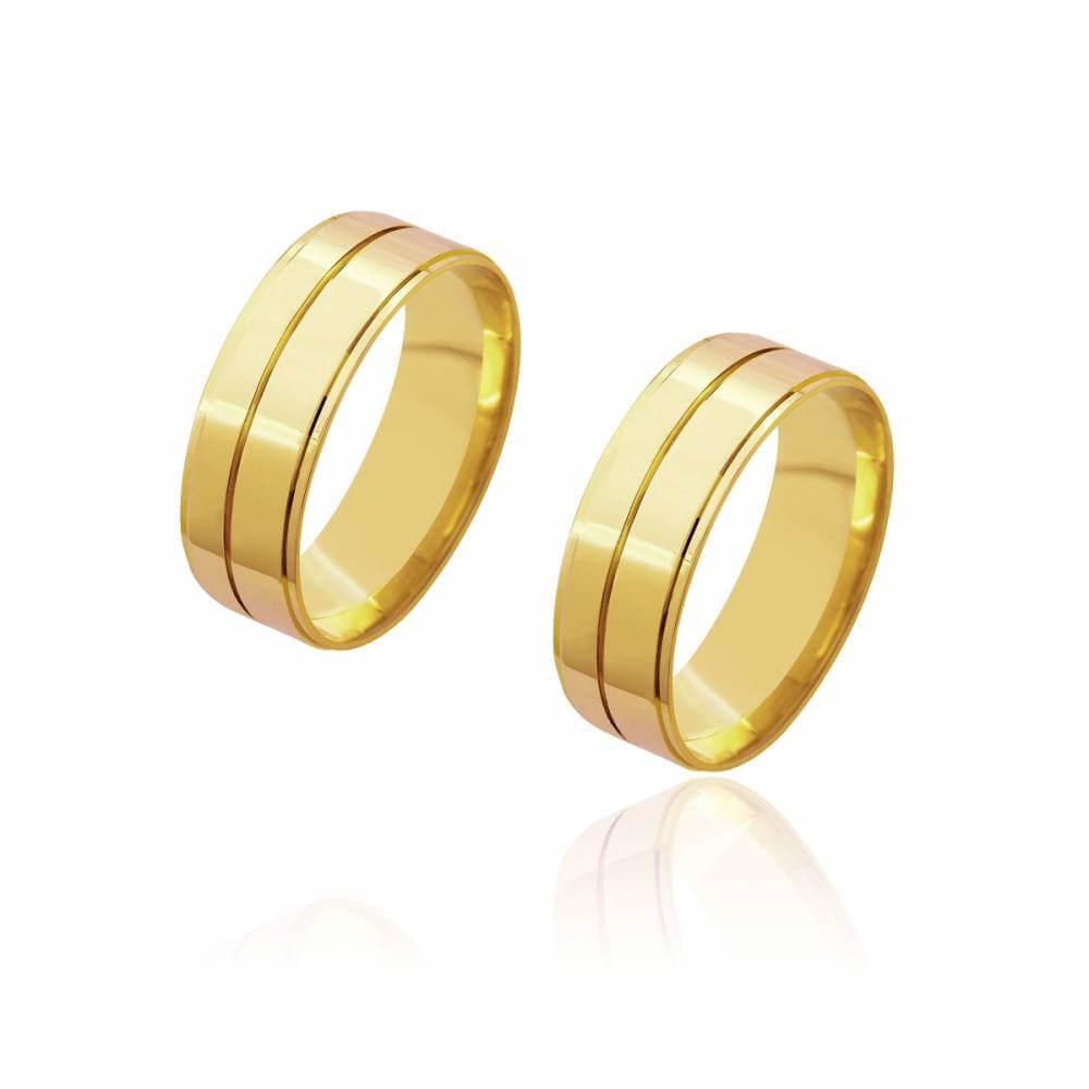 Par de Alianças de Casamento Diana Ouro 18K Reta com Friso Central 7mm e 9 g