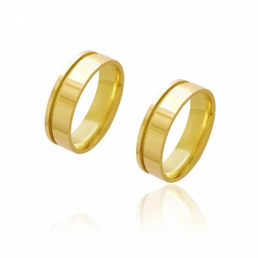 Par de Alianças de Casamento Diana Ouro 18K Reta com Friso Lateral Diamantado 6mm e 8g