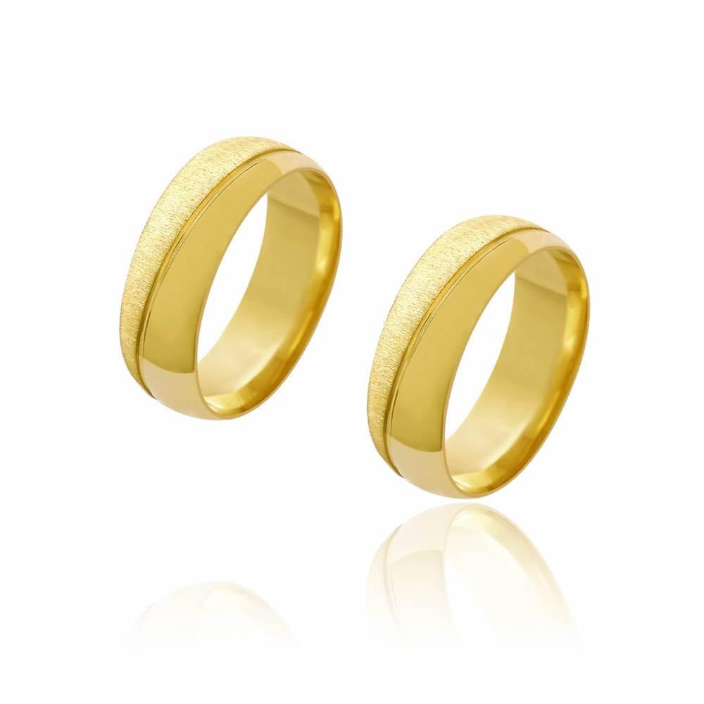 Par de Alianças de Casamento Diana Ouro Abaulada Diamantada Lisa Frisos Transversais 7mm 10g