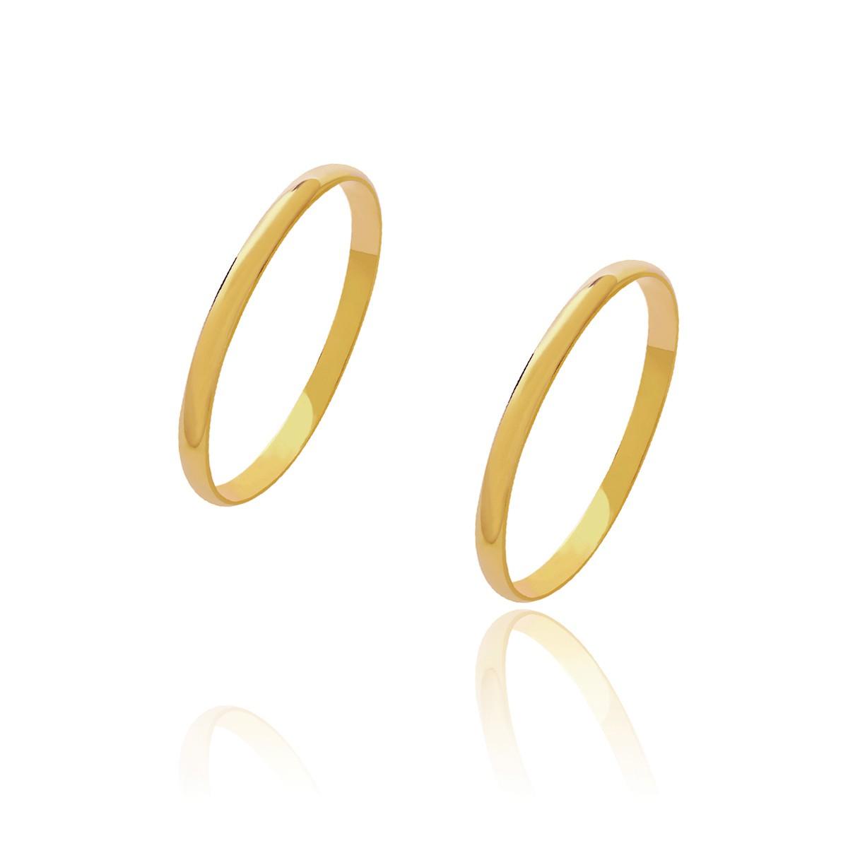 Par de Alianças de Casamento Diana Ouro Abaulada Lisa 1,8mm 1,5g