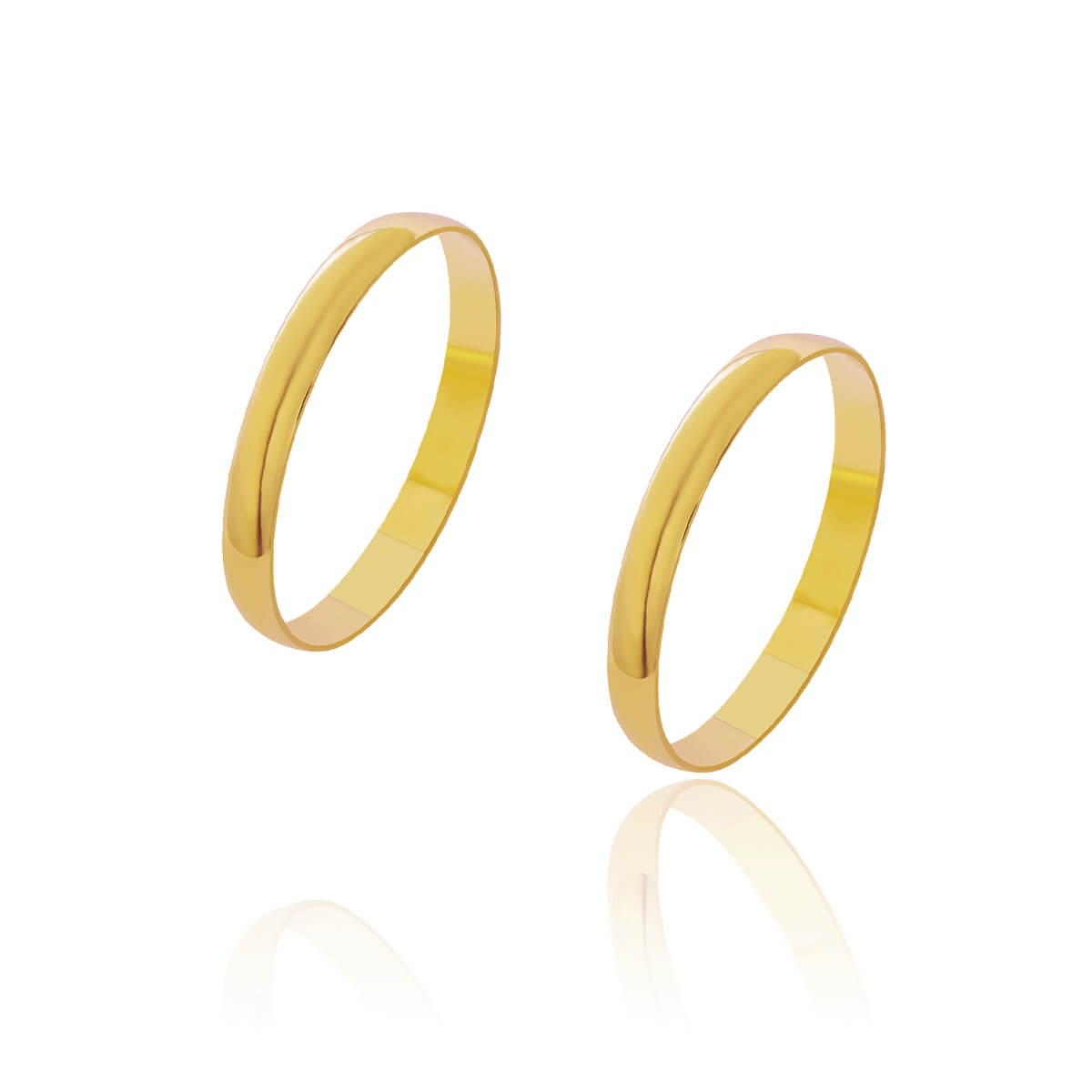 Par de Alianças de Casamento Diana Ouro Abaulada Lisa 2,5mm 1,8g