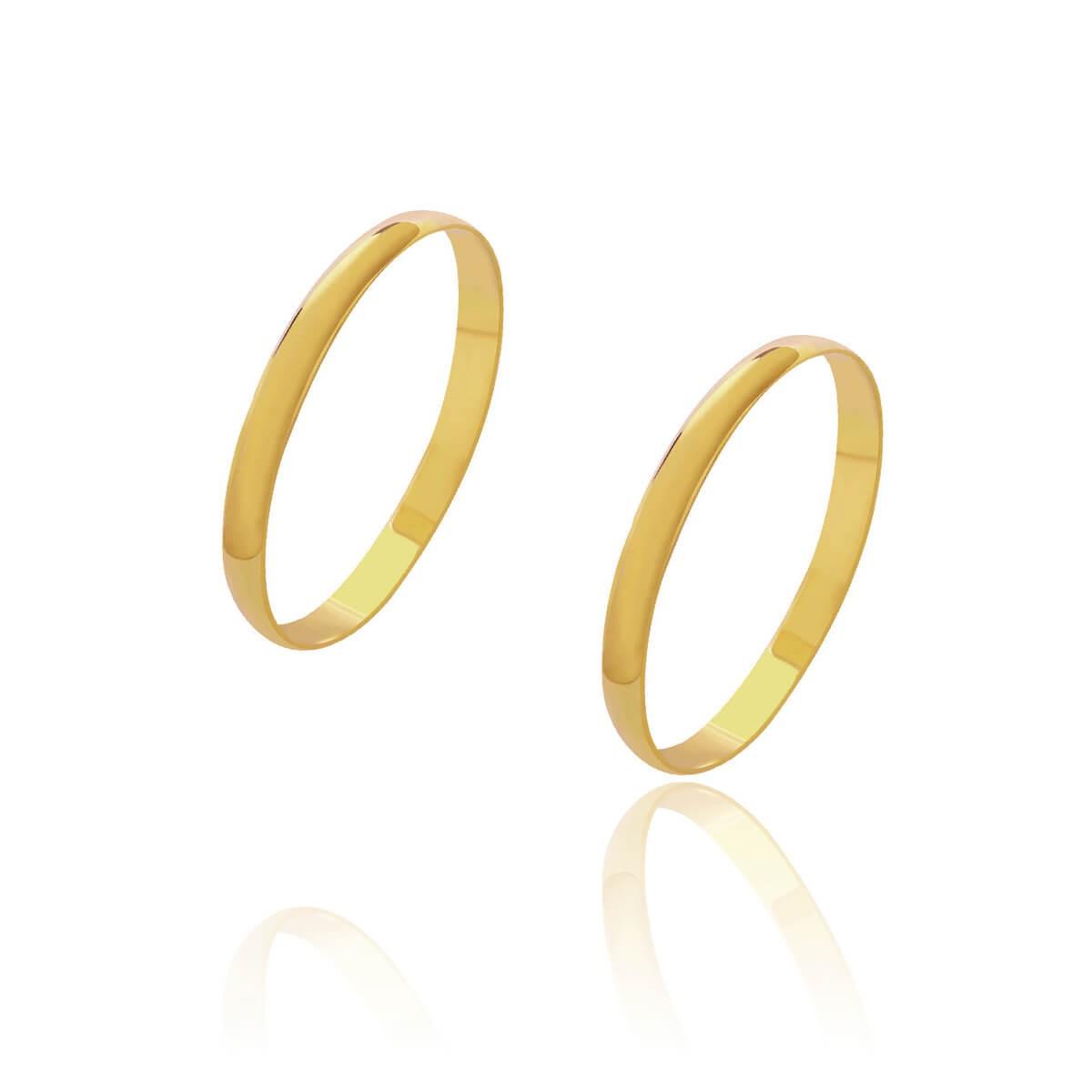 Par de Alianças de Casamento Diana Ouro Abaulada Lisa 2mm 1,5g